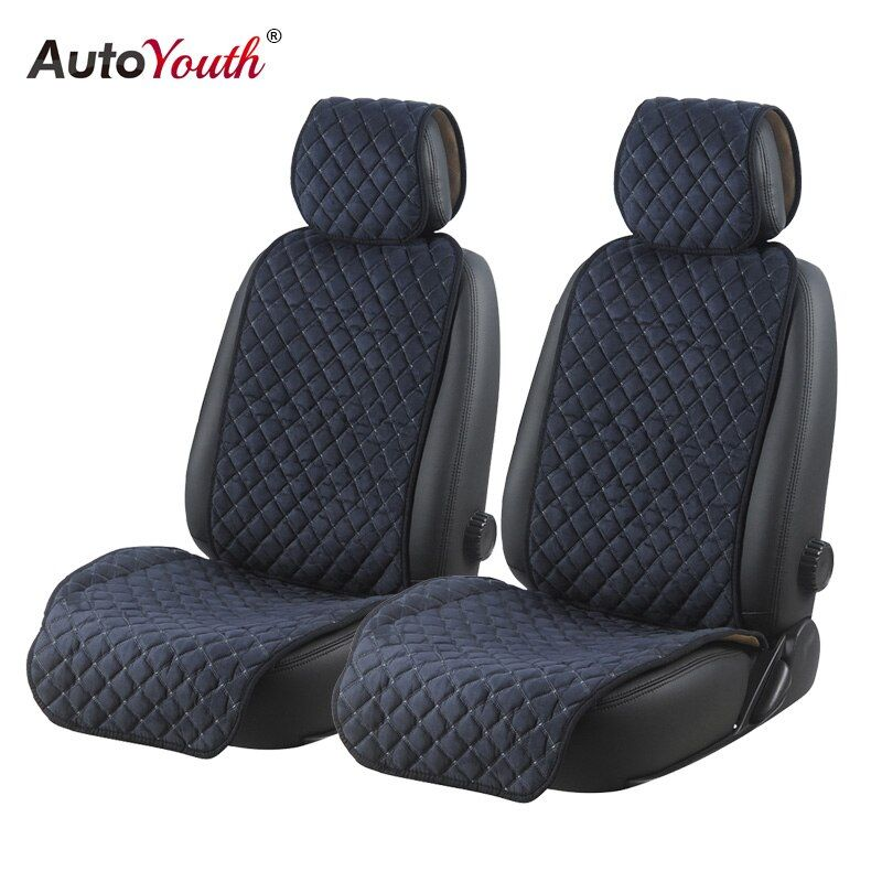 AUTOYOUTH Cotton Car Seat Cushions 2 Seats Breathable Car Seat Cover Protector Universal for Trucks SUV Dark Blue Non-slip