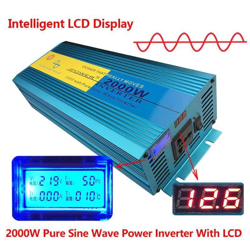 Digital Display 2000W/4000W 12V DC to 220V- 240V AC Converter Power Supply Pure Sine Wave Power Inverter