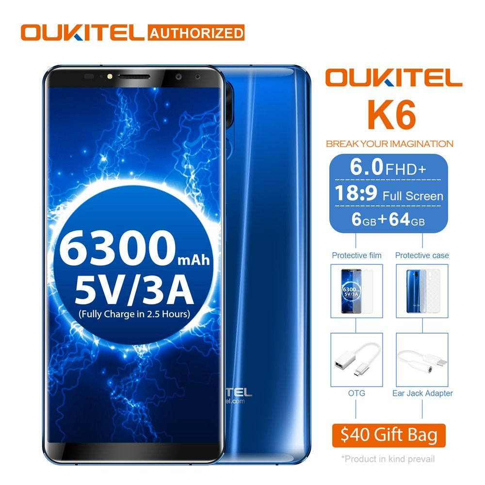 Oukitel K6 18:9 Face ID Smart Phone 6.0'' FHD Screen 6GB+64GB MTK6763 Octa Core 6300mAh 5V/3A Fast Charge 21MP 4 Cams Cellphone