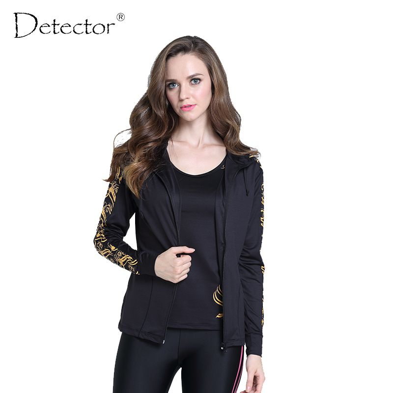 Detector Performance thermal tights running jacket race running outdoor hoodies Women Gym Sport Yoga sports Fitness black S-L