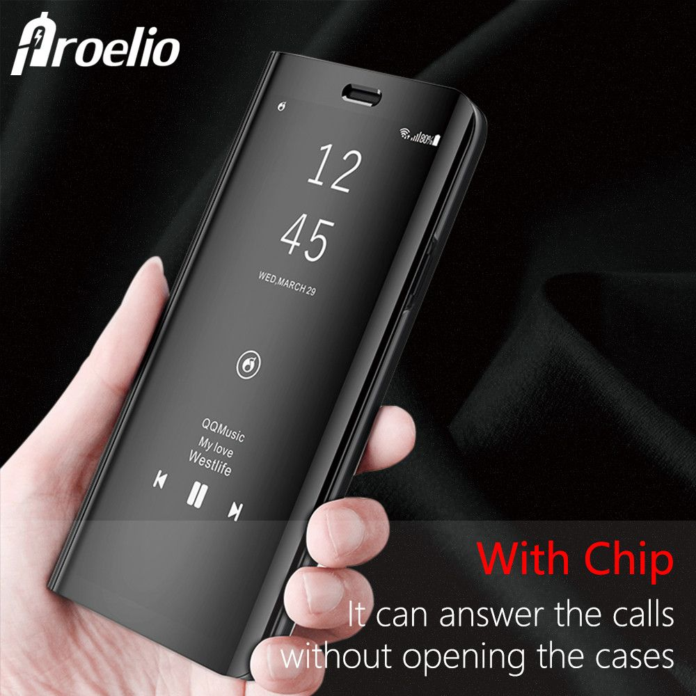 Proelio Luxury Flip Cover Leather Smart Chip Case For Samsung Galaxy Note 8 S6 S7 Edge S8 Plus Clear View Standing Mirror Case