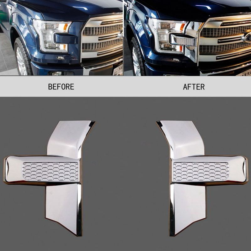Mayitr 2pcs Chrome Styling Car Front Bumper Headlight & Grille Cover Trim for Ford F150 2015 2016 2017