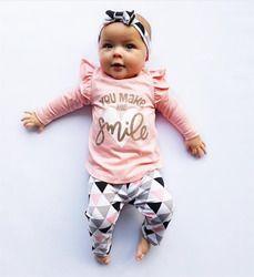 3 Pcs Nouveau-Né Bébé Fille Vêtements Rose Manches À Volants Tops + Géométrique Pantalon + Bandeau Infant Toddler Bébé Filles Vêtements ensemble