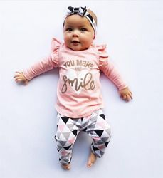 3Pcs Newborn Baby Girl Clothes Pink Sleeve Ruffle Tops+Geometric Pants+Headband Infant Toddler Baby Girls Clothing Set