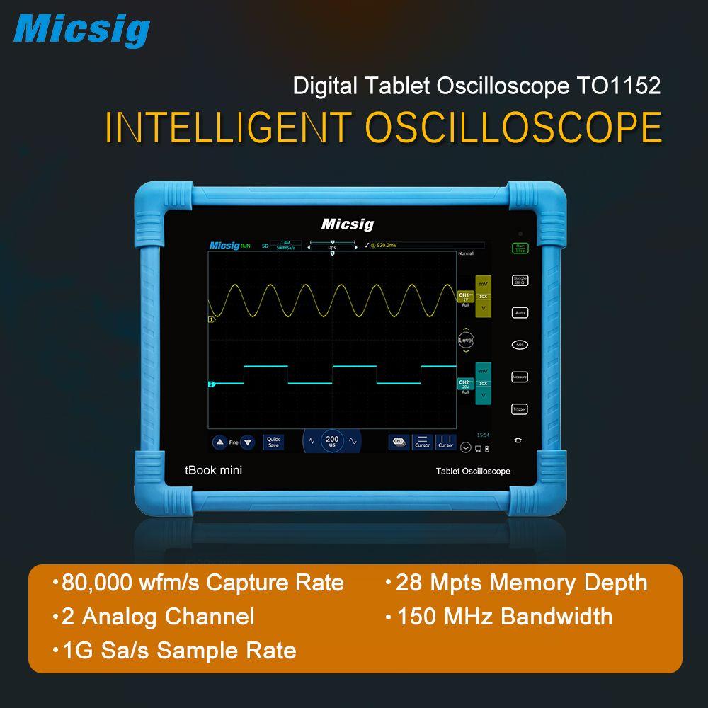 Micsig 2017 Tablette Numérique Oscilloscope TO1152 150 MHz 2CH 1G Sa/s taux d'échantillonnage en temps réel automobile Oscilloscopes kit nouveau venu