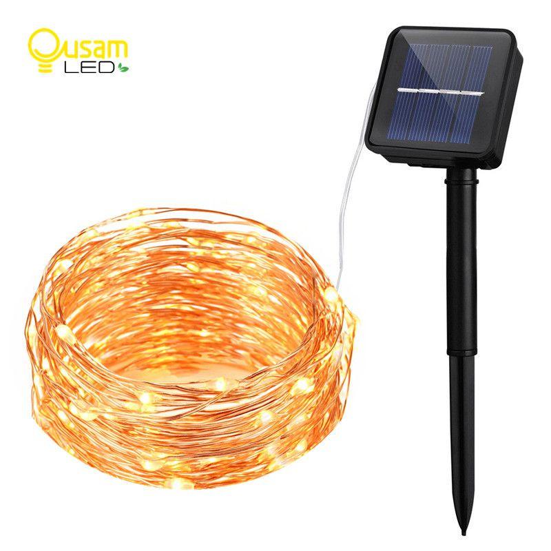 Chaîne solaire lumières 10M 100 LED fil de cuivre chaîne fée lumières étanche noël énergie solaire lampe pour décoration de jardin