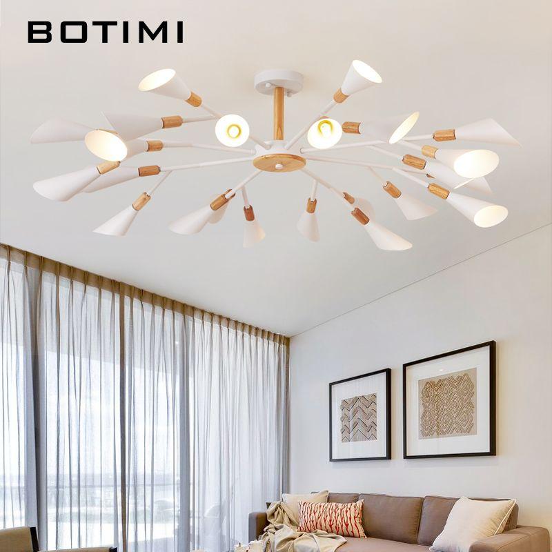 BOTIMI Designer Kronleuchter Für Wohnzimmer Moderne Weiß Lustre Holz Schlafzimmer Beleuchtung Nordic Oberfläche Montiert Kronleuchter