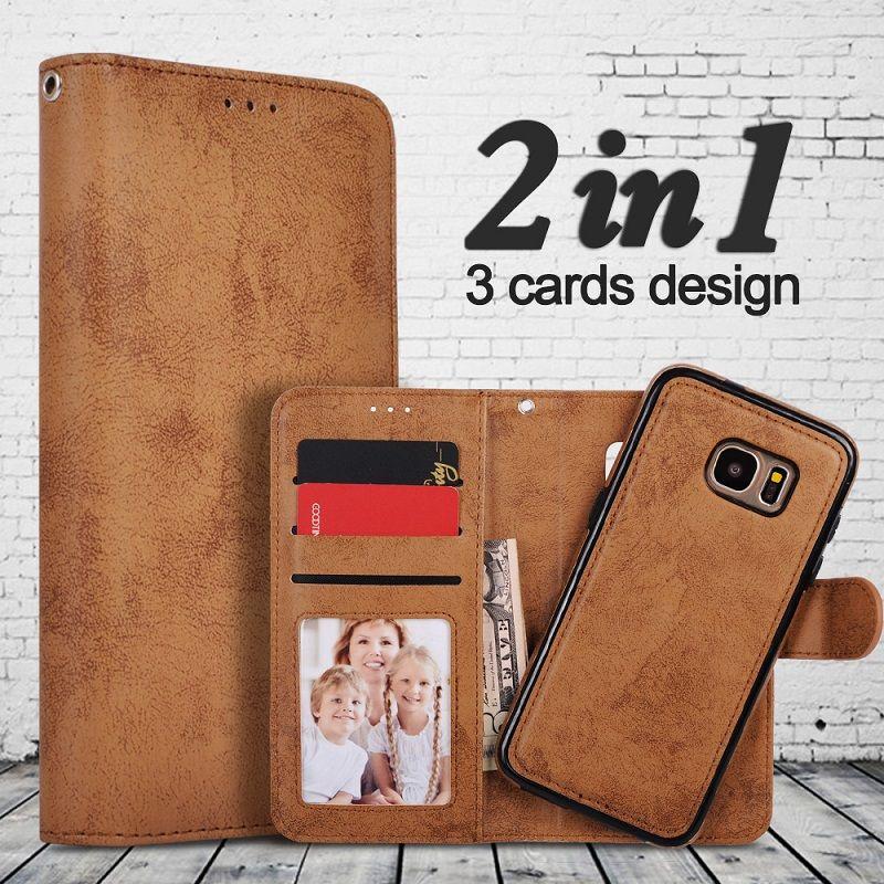 Pour Samsung Galaxy S8 Cas Flip Portefeuille 2 en 1 Amovible rétro Mince PU Étui En Cuir Pour Samsung S8 Plus Cas Antichoc magnétique