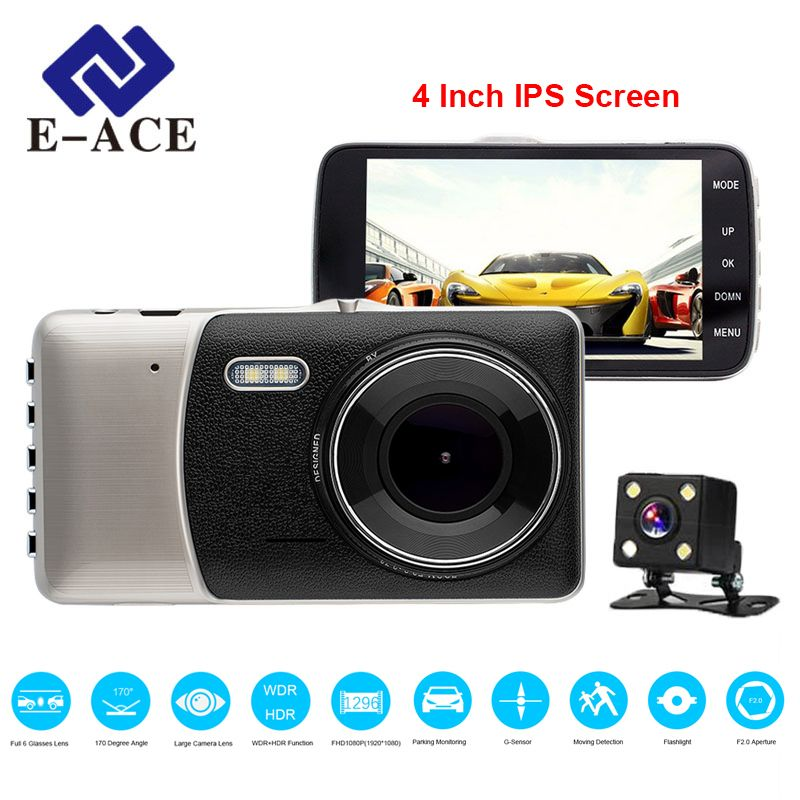 E-ACE Car DVR 4 Inch IPS Screen Auto Camera Dual Lens FHD 1080P Dash Cam Video Recorder Night Vision G-sensor <font><b>Registrator</b></font>
