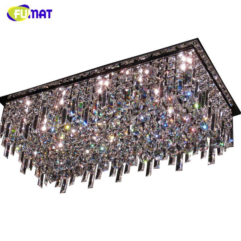 FUMAT Rechteck K9 Kristall-kronleuchter Decke Wohnzimmer Esszimmer Moderne Kurze K9 Kristall Lichter Glanz Hotel LED Kronleuchter