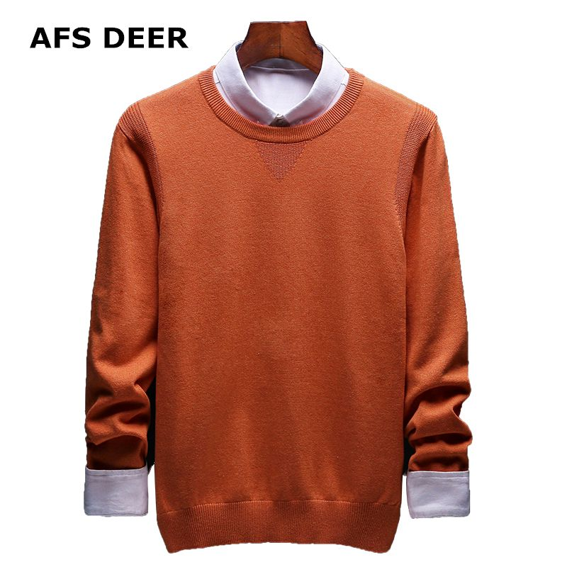 2017 Brand Fashion Solid Men Sweater Causal  Knitting Sweater Tops Men's Pullover Wool Sweater O-Neck Cotton Male Jumpers