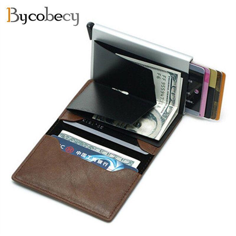 Bycobecy antivol hommes d'affaires porte-carte de crédit bloquant Rfid portefeuille en cuir unisexe informations de sécurité en aluminium métal sac à main