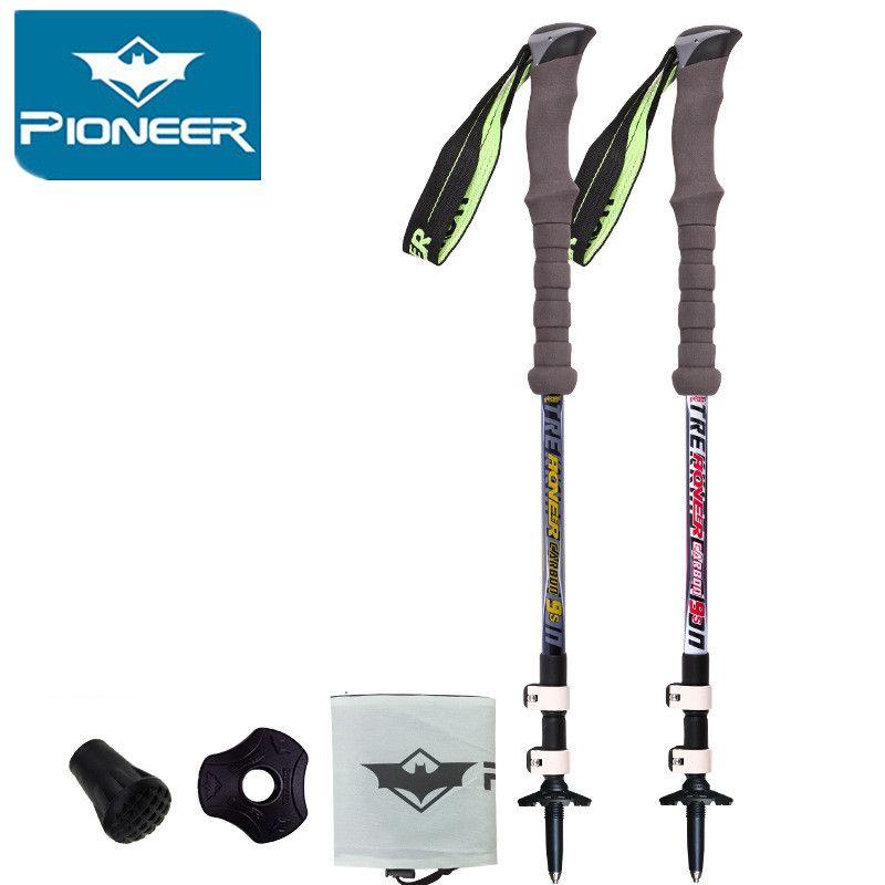 2018 Pioneer Carbon Fiber Ultra-light Adjustable Camping Hiking Walking Trekking Stick Alpenstock Climbing Skiing Trekking pole