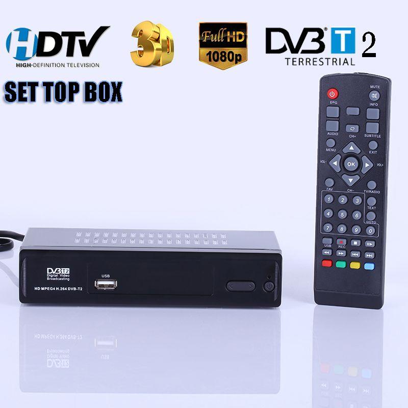 HD Numérique Terrestre Recevoir DVB-T2 Soutien MP3 MPEG4 Format Numérique TV Box Universel TV Tuner TV Récepteur DVBT2 Set Top boîte