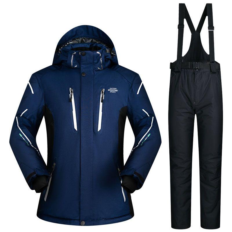 Новый лыжный костюм мужской лыжи и Сноубординг комплекты супер теплый водонепроницаемый ветрозащитный сноуборд куртка + лыжные штаны Зимн...