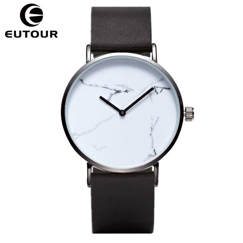 EUTOUR Ultra mince En Marbre Classique Montres À Quartz femmes Horloge en cuir décontracté Mode montre-Bracelet montre femme Relogios Feminino