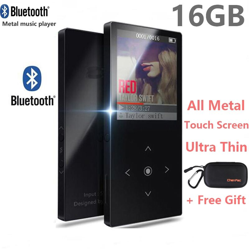 16GB Touch Button Bluetooth MP3 Music Player Ultra Thin Color Screen Hi-Fi Sound Walkman Expandable Up to 64GB + mp3 player case