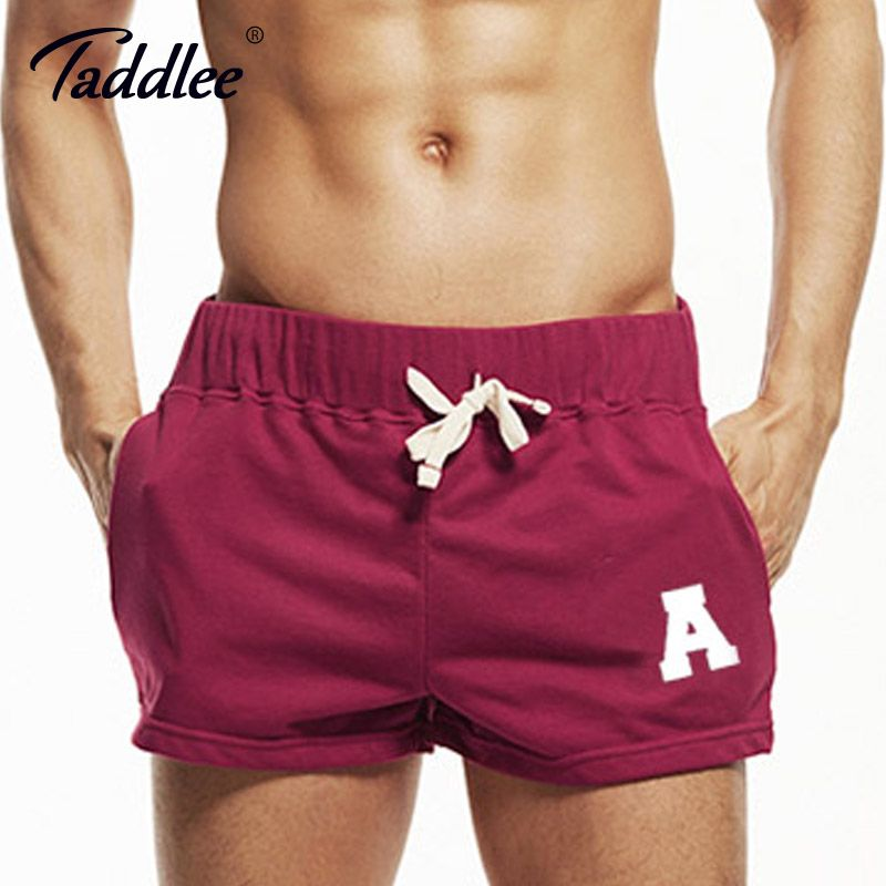 Taddlee Brand Sexy Men's Sports Running Short Shorts Cotton Red Pockets Gym Training Big Soft Low Rise Boxer Trunks Bottom