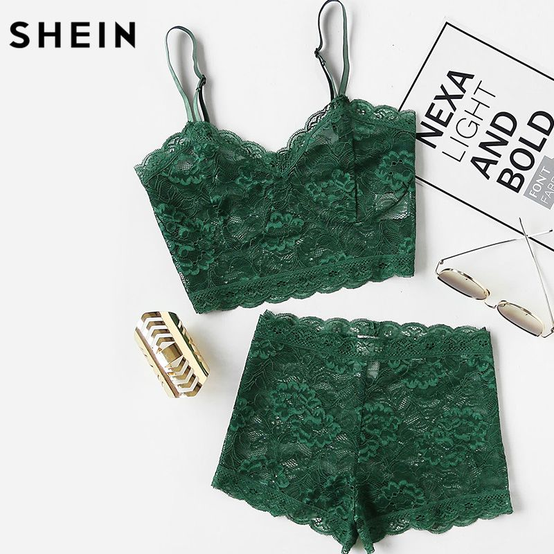 SHEIN Green Two Piece Set Summer Sexy Elegant Lingerie Sets Womens Floral Lace Bustier Crop Top and Shorts Pajama Set