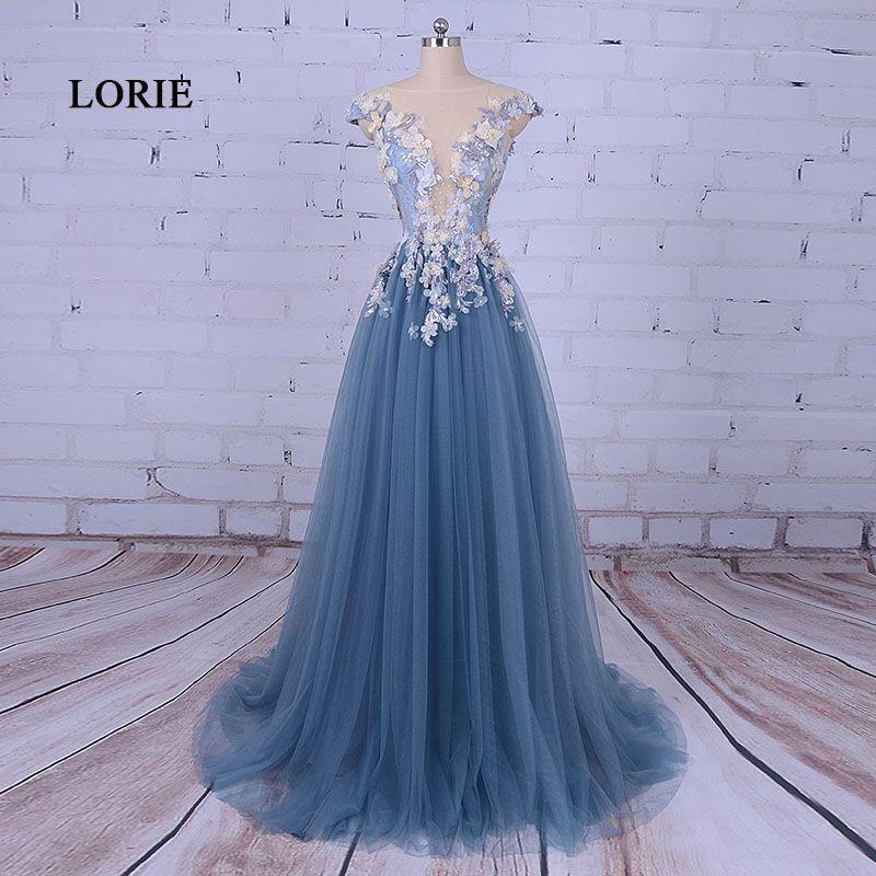Лори вечернее платье для женщина Scoop трапециевидной формы украшен цветком Tull синий платье для выпускного вечера для Выпускной Vestido De Festa 2017