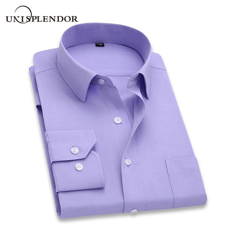 2019 hommes robe chemise à manches longues Slim marque homme chemises Designer de haute qualité solide mâle vêtements Fit chemises d'affaires 4XL YN045