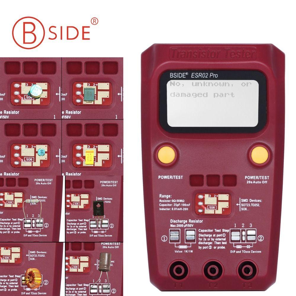 BSIDE ESR02PRO Digital Transistor Tester SMD Components Diode Triode Resistance Capacitance Inductance Multimeter ESR Meter