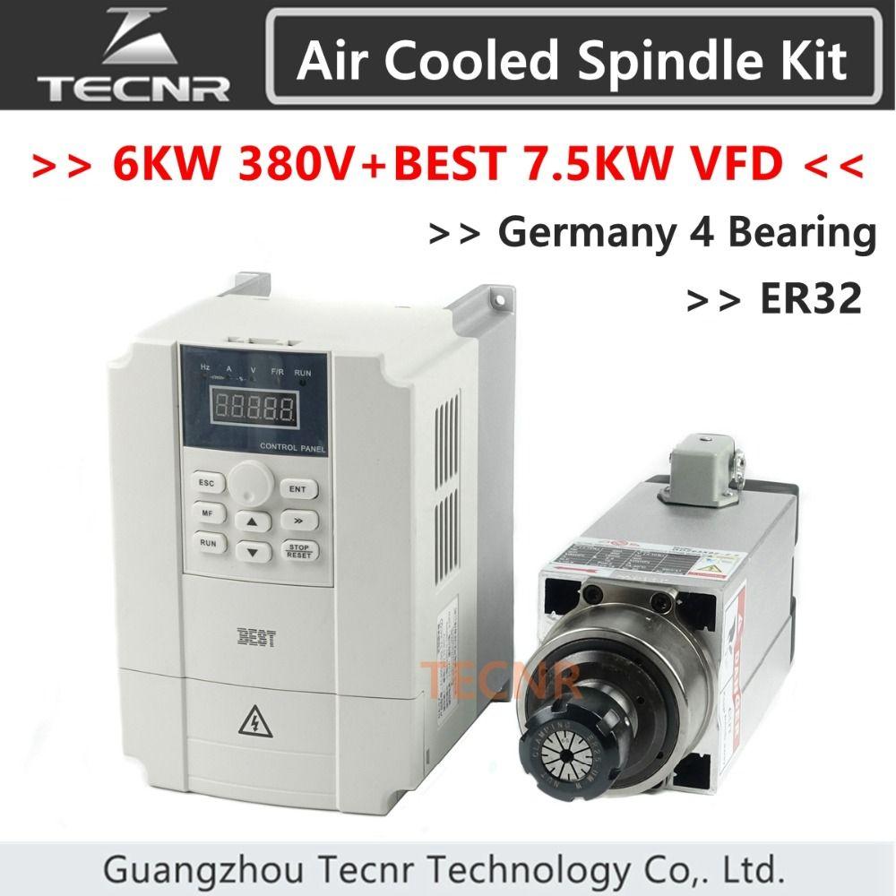 TECNR 6kw 380 v luftgekühlten spindel motor ER32 4 stücke Keramik Kugellager und BESTE 7.5KW VFD inverter