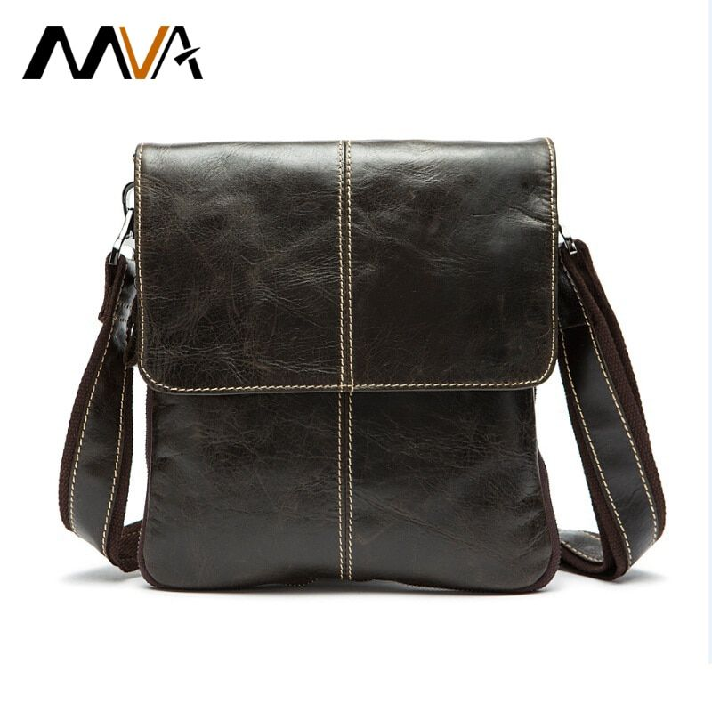 MVA Messenger Bag Men Shoulder bag Genuine Leather Small male man Crossbody bags for Messenger men Leather bags <font><b>Handbags</b></font> 8006
