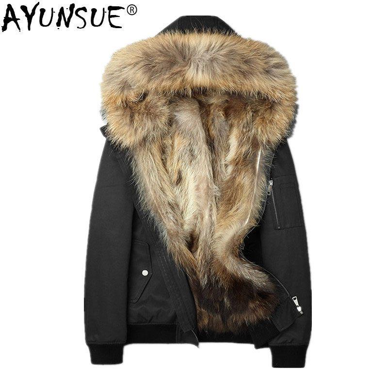 AYUNSUE Natural Raccoon Fur Coat Winter Jacket Men Sports Down Cotton Real Raccoon Fur Collar Parka Men Winterjas Heren MY783