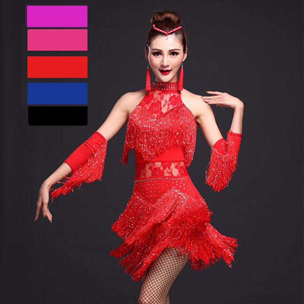 Latin Dance Dress Women Competition Dress 1Pcs Tassel Milk Silk Fantasia Masculina Para Adulto Robe Salsa Adulte Suits DQ1045