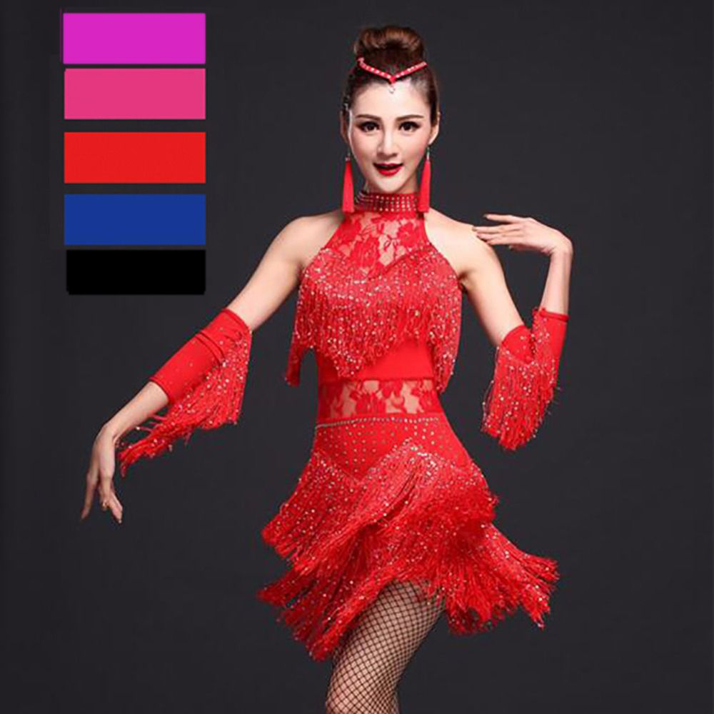 Latin Dance Dress Women Competition Dress <font><b>1Pcs</b></font> Tassel Milk Silk Fantasia Masculina Para Adulto Robe Salsa Adulte Suits DQ1045