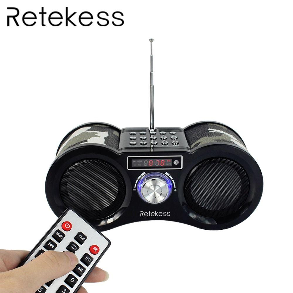 RETEKESS V113 Camouflage Stereo Digital FM Radio USB/TF Card <font><b>Speaker</b></font> MP3 Music Player With Remote Control Receiver Radio F9203M