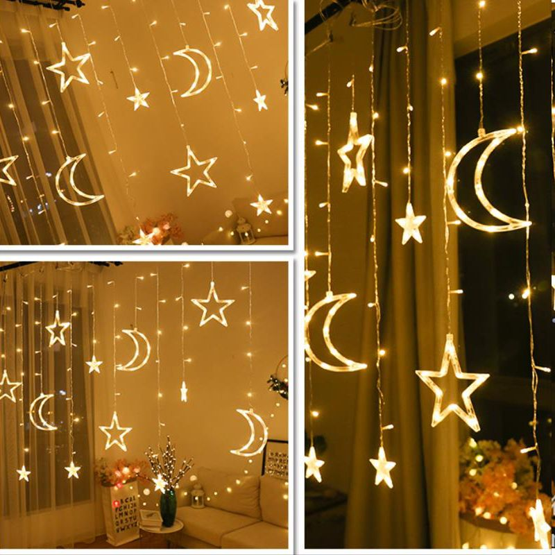 Lune étoile guirlande de noël LED rideau glaçon chaîne lumière 220V 3.5m intérieur LED fête jardin scène extérieure décorative lumière