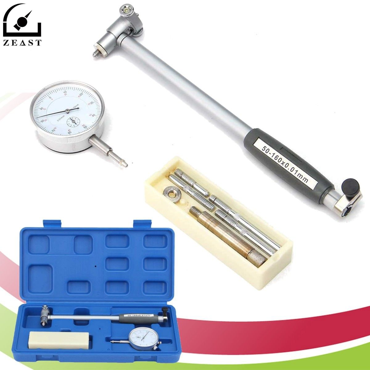 Engine Dial Bore Gauge Hole Indicator Set Measure Range 50-160mm 0.01mm Accuracy Kit