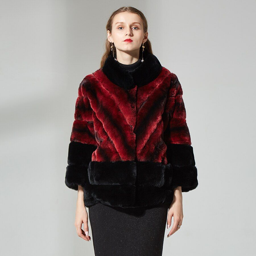 real fur jacket women's rabbit fur jacket stand collar chinchilla fur coat