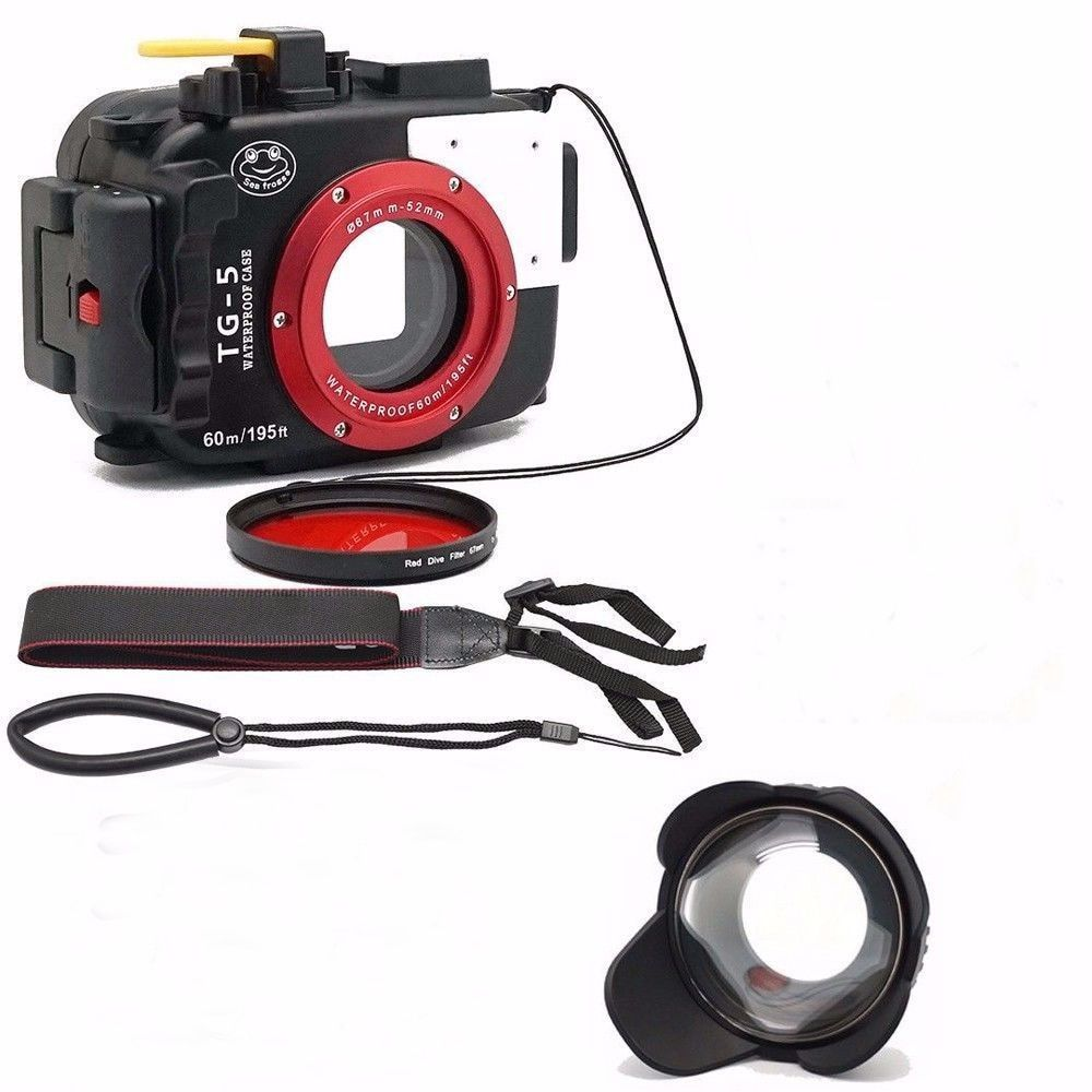 Seafrogs 195FT/60M Underwater camera waterproof diving housing for Olympus TG-5+67mm Fisheye Lens+Red Filter for gift
