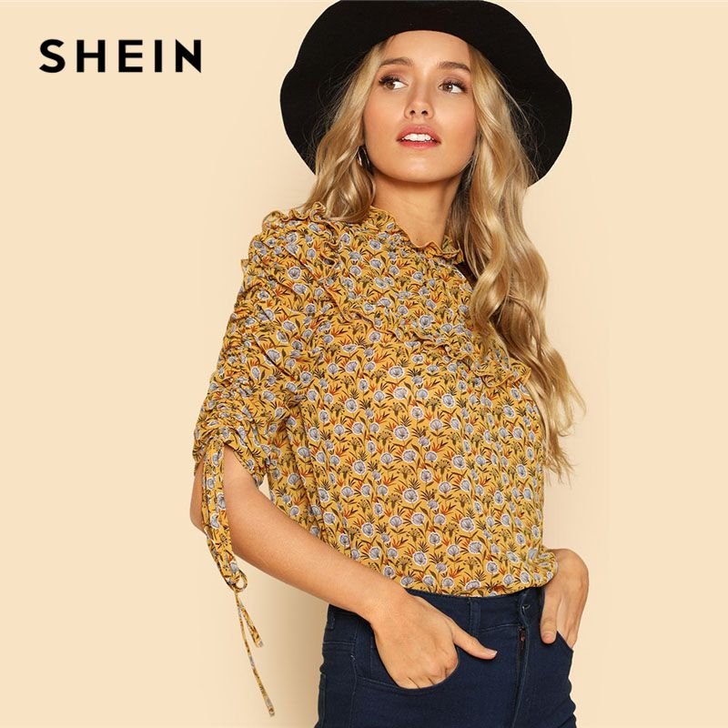 SHEIN Drawstring Sleeve Frill Calico Top Yellow Stand Collar Half Sleeve Women Button Blouse 2018 Spring Weekend Casual Blouse
