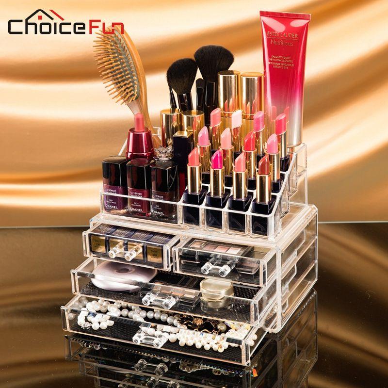 CHOICE FUN Makeup Organizer Storage Box Acrylic Make Up Organizer Cosmetic Organizer Makeup Storage Drawers Organizer Organiser
