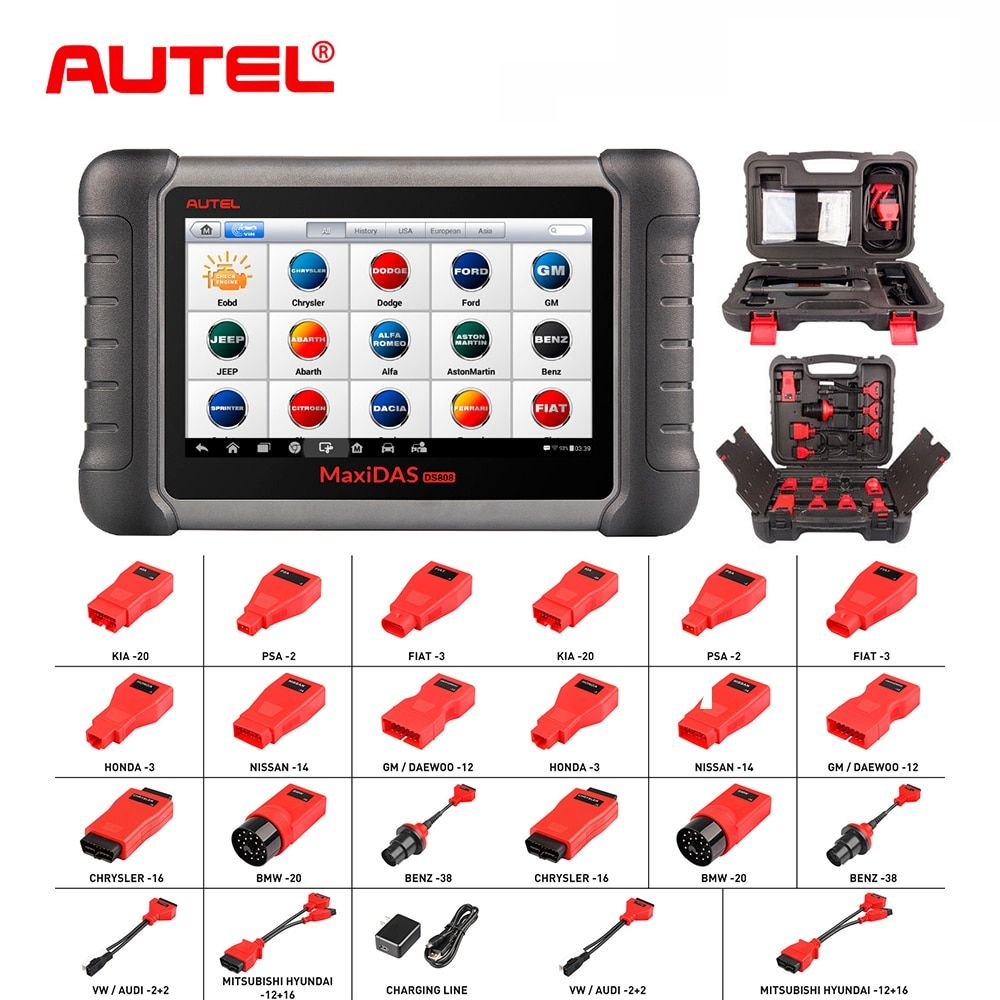 Car Diagnostic Tool Autel MaxiDAS DS808K OBD2 Code Reader Better DS808 DS708 Functional similar to ms906bt ms908 Multi-language