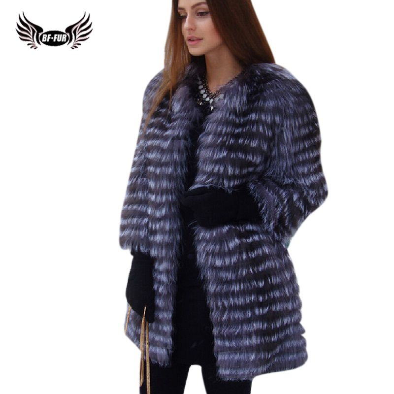 BFFUR Women's Winter Real Fox Fur Coat 2018 NEW Ladies Thick Warm Medium Long Female Fur Jacket Silver Fox Fur Coat Snowsuit