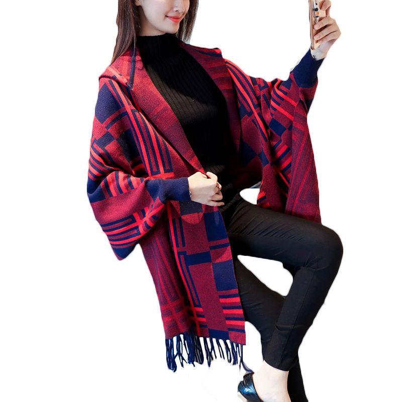 2018 New Spring Autum Bat Sleeve Knit Cardigan Cloak Fringe Cape Shawl Sweater Coat Korean Loose Women Hooded Jackets A316
