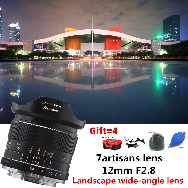 7 handwerker 12mm f2.8 Ultra Weitwinkel Objektiv für Canon EOSM Fuji FX M43 E-mount APS-C Spiegellose kameras A6500 A6300 XT2 Objektiv