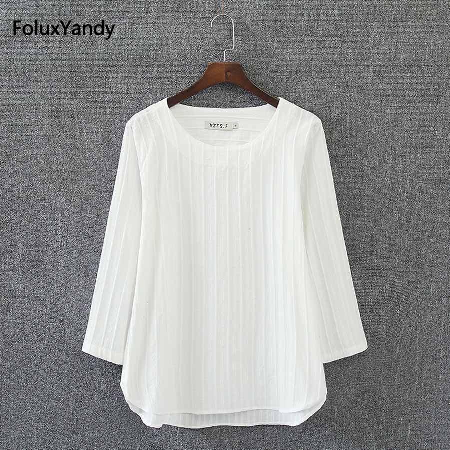 Trois Manches Trimestre Femmes Tops Marque Nouveau Style D'été Plus La Taille 3 4 XL T-shirts Blanc Pulls KK2852