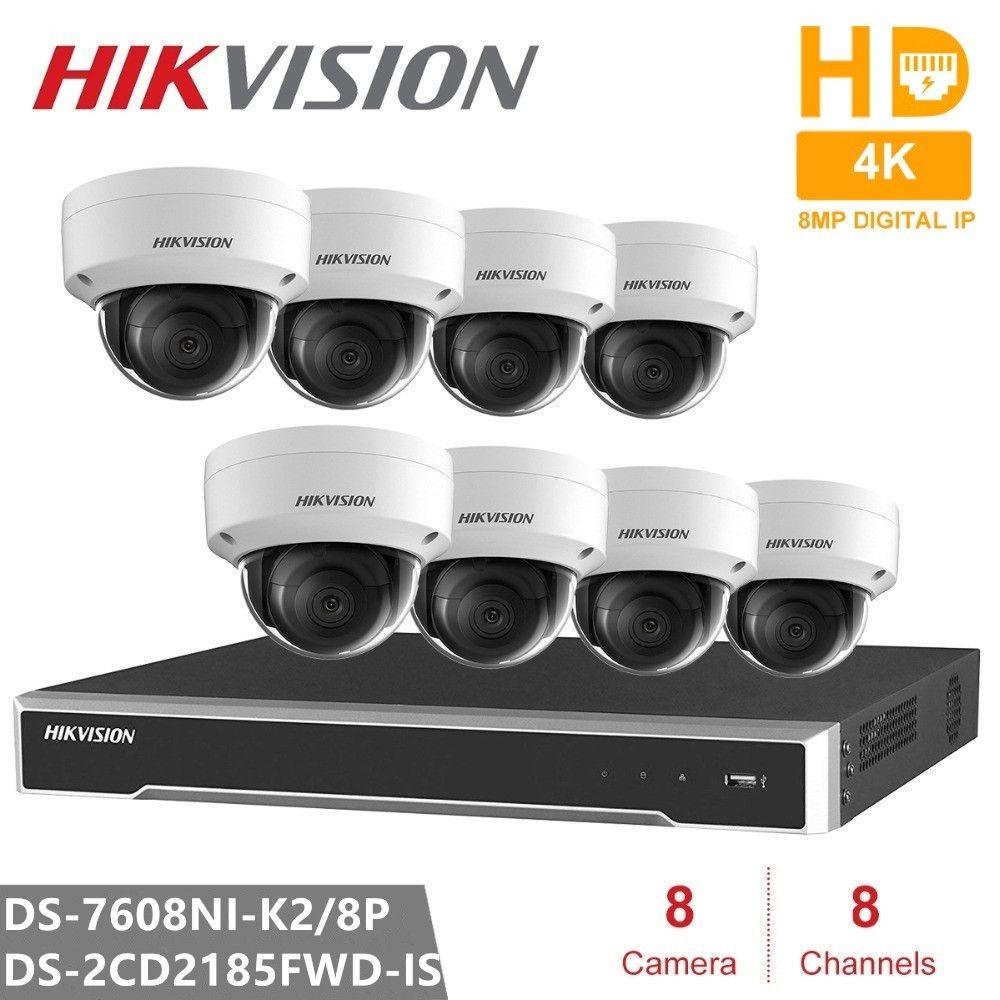 Hikvision Video Überwachung Kits 8CH 8POE 2SATA Embedded Plug & Play 4K NVR & 8PCS H.265 8MP IP Kamera Sicherheit Kamera CCTV