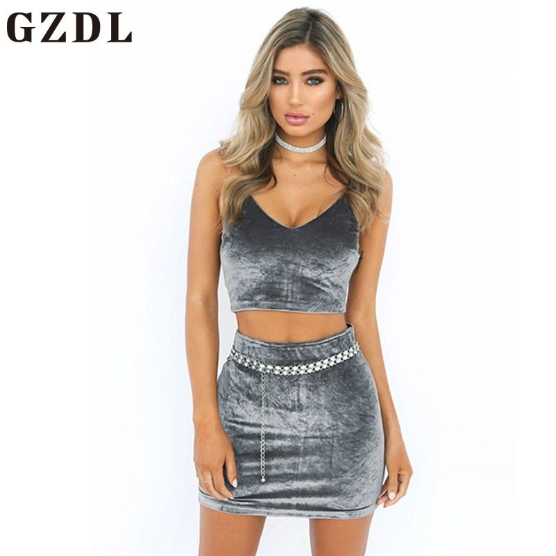 GZDL Summer Sexy Women Two Pieces Sets Velvet Set Fashion Strap Deep V Backless Zipper Crop Top Sheath Bodycon Mini Skirt CL3691