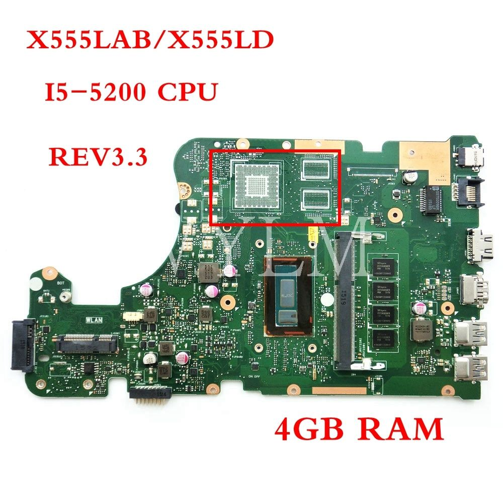 X555LAB I5-5200 CPU 4GB RAM motherboard REV3.3 For ASUS X555LA X555LD X555LAB laptop mainboard Tested Working 90NB0650-R00110