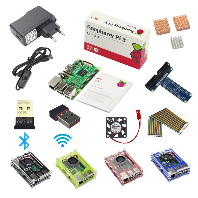 Raspberry Pi 3 Model B Starter Kit Pi 3+1 Acrylic Case+2.5A Power Supply +USB Cable + Fan + GPIO Adapter +Wifi Bluetooth Adapter
