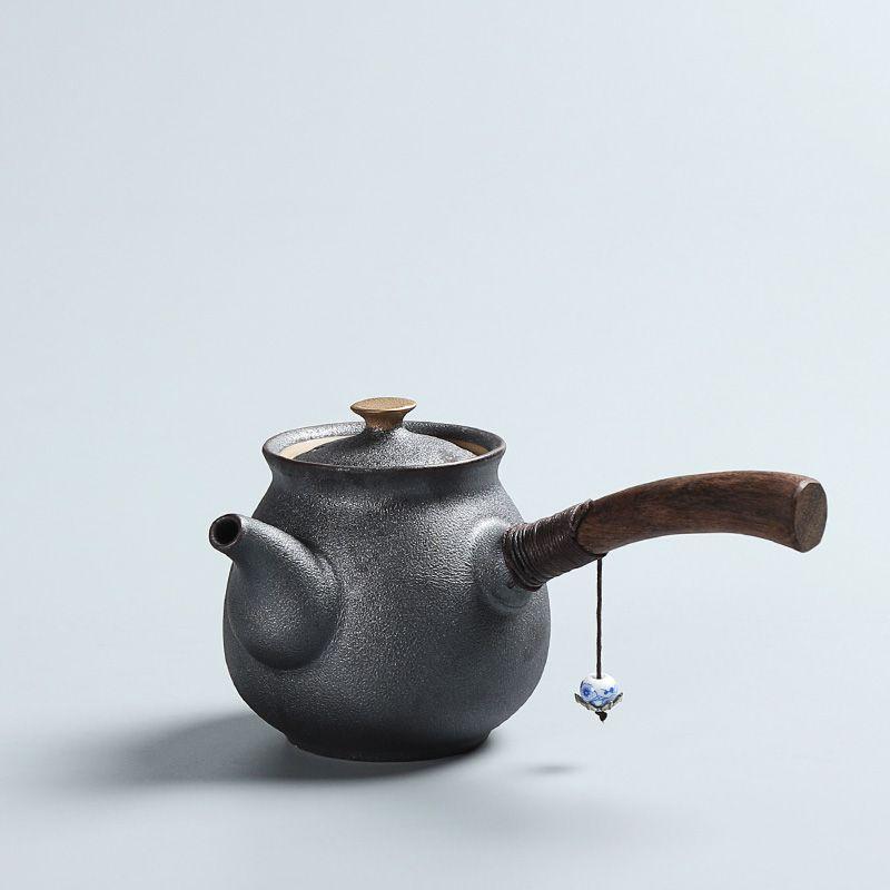 PINNY nouveauté céramique Style japonais théière Vintage Kung Fu thé ensemble ébène manche en bois théières thé bouilloire écologique