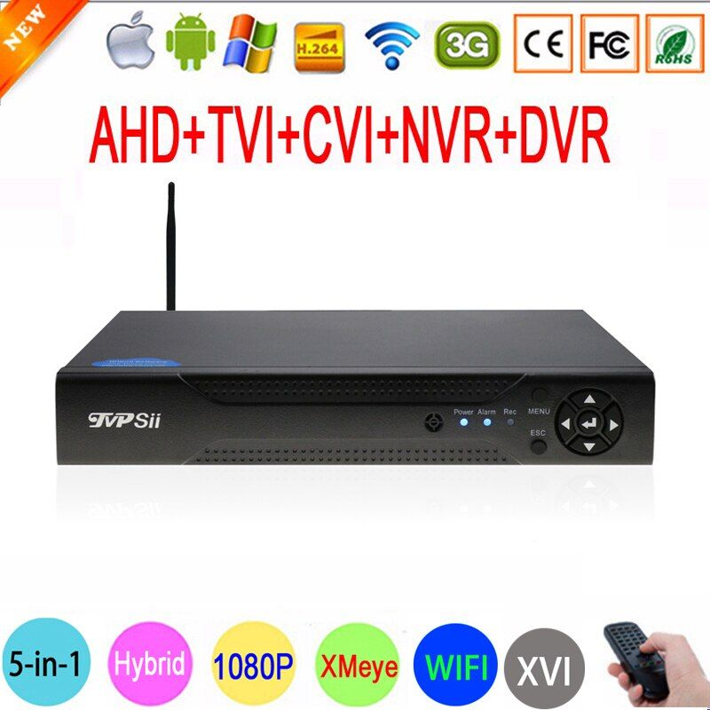 1080P Surveillance Camera XMeye Hi3521A 16 Channel 16CH 1080N 6 in 1 Coaxial Hybrid Wifi XVI TVi CVI IP NVR AHD DVR FreeShipping