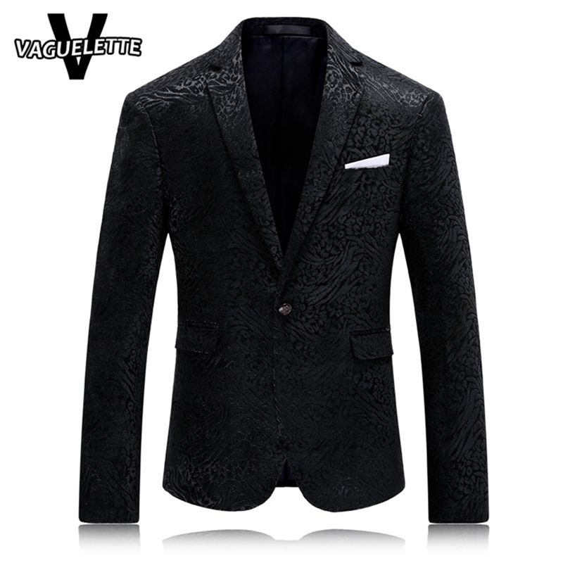 Leopard Men Blazer Jacket Printed Solid Black Classic Mens 2017 Fashion Blazers Casual Stage Clothes M-4XL